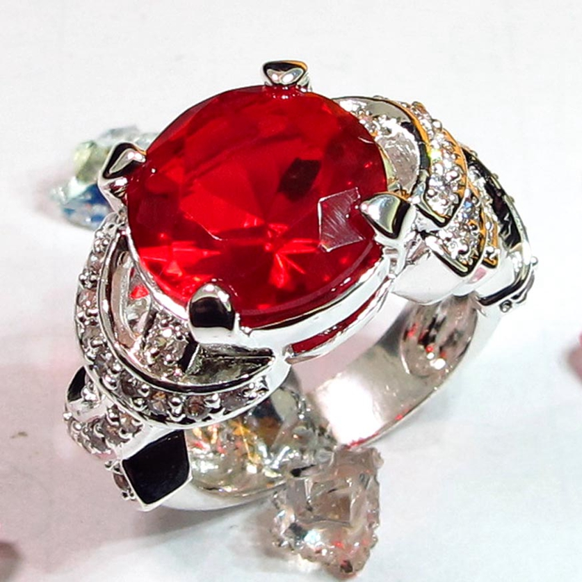 Fleure Esme Luxury Charms Engagement Wedding rings Jewelry Accessories for women Red Cubic Zirconia Rhodium Plated <font><b>R307</b></font> size 6 7 image