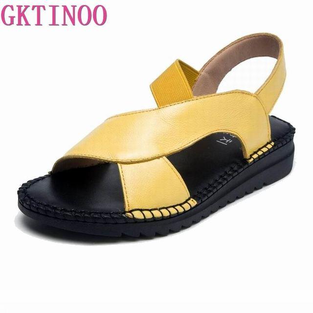 GKTINOO Cow Genuine Leather Sandals Women Flat Heel Sandals Fashion Summer Shoes Woman Sandals Summer Plus Size