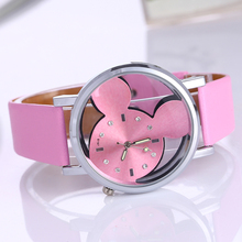 Crystalline Wristwatch female 2016 Fashion Brand Luxury Mickey Mouse Casual Quartz watch Ladies Dress Clock Girl Cartoon Watches