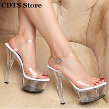 CDTS Plus:34-44 Summer 2016 Ankle Strap sandals female sexy crystal shoes woman 15cm Thin High Heels transparent platform pumps