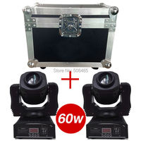 Flight Case With 2 Pieces 60W LED Spot Moving Head Light USA Luminums 60W LED DJ