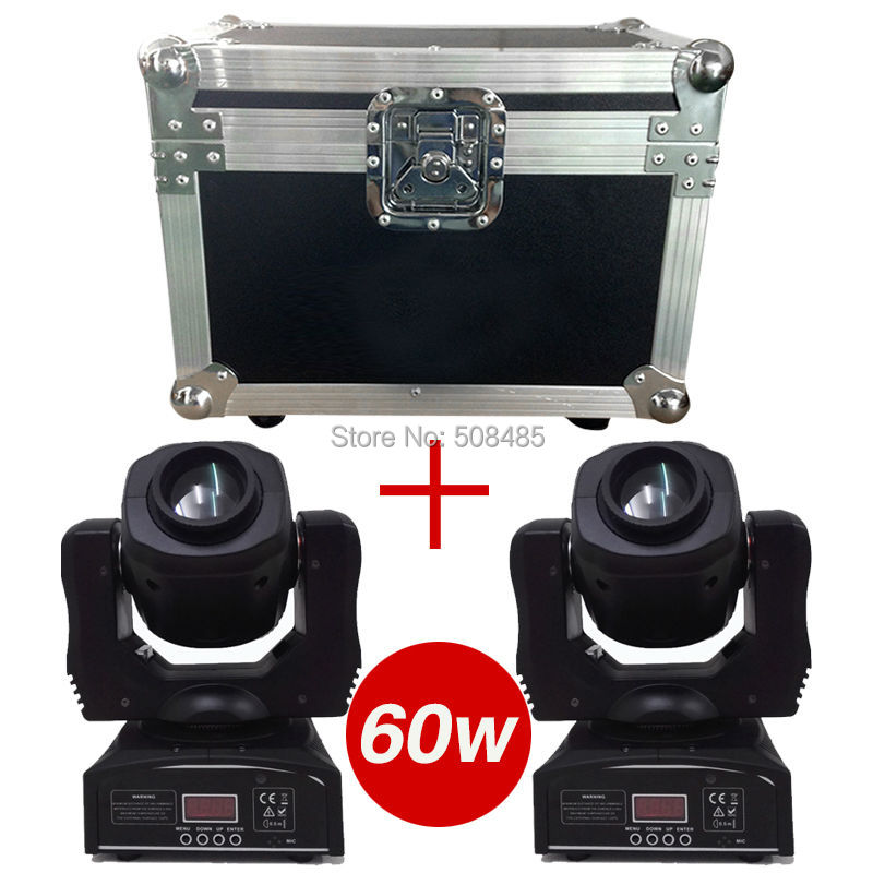 Flight Case with 2 pieces 60W LED Spot Moving Head Light/USA Luminums 60W LED DJ Spot Light 60W gobo moving heads lights niugul dmx stage light mini 10w led spot moving head light led patterns lamp dj disco lighting 10w led gobo lights chandelier
