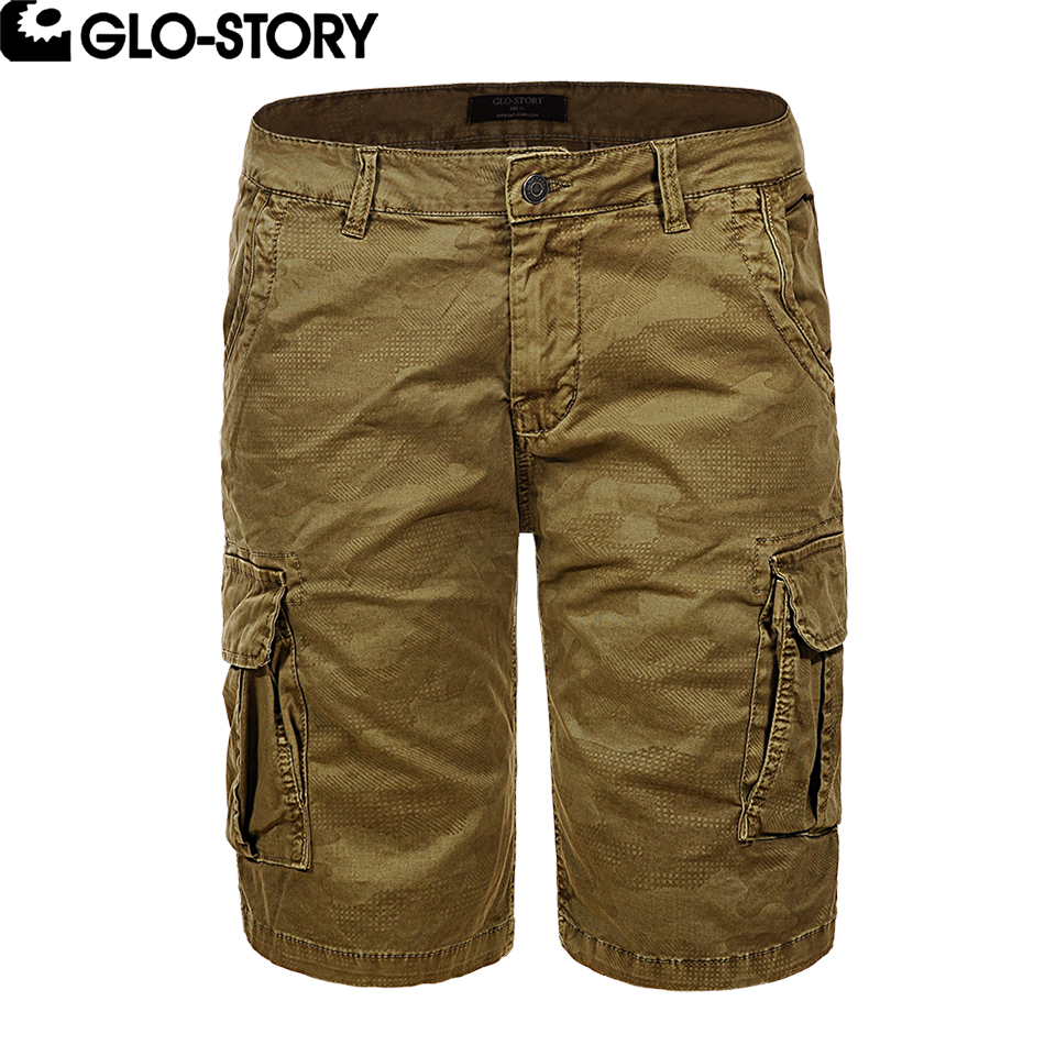 GLO-STORY Brand European Size High Quality Men Cotton Shorts Men Summer Casual Cargo Short Bermuda Masculina MMK-6231