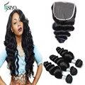 7A Peruvian Virgin Hair With Closure Hair Bundles With Lace Closure 3Pcs Loose Wave With Peruvian Lace Closure Cheap Human Hair