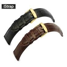 12 13 14 16 18 19 20 21 22 24mm Negro marrón de cuero de becerro genuino correa de reloj de correa hebilla pulsera de omega breitling