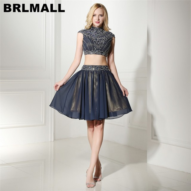 d0a47befd51 BRLMALL 2017 Navy Blue Two Pieces Homecoming Dresses High Neck Beaded  Crystal Prom Dresses Cap short sleeves Graduation Dress