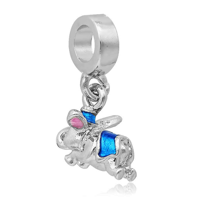 Free shipping 1PC Silver Lake Blue Dumbo Dangle Beads Charms Fits Pandora Charm Bracelets DIY Fashion Jewelry