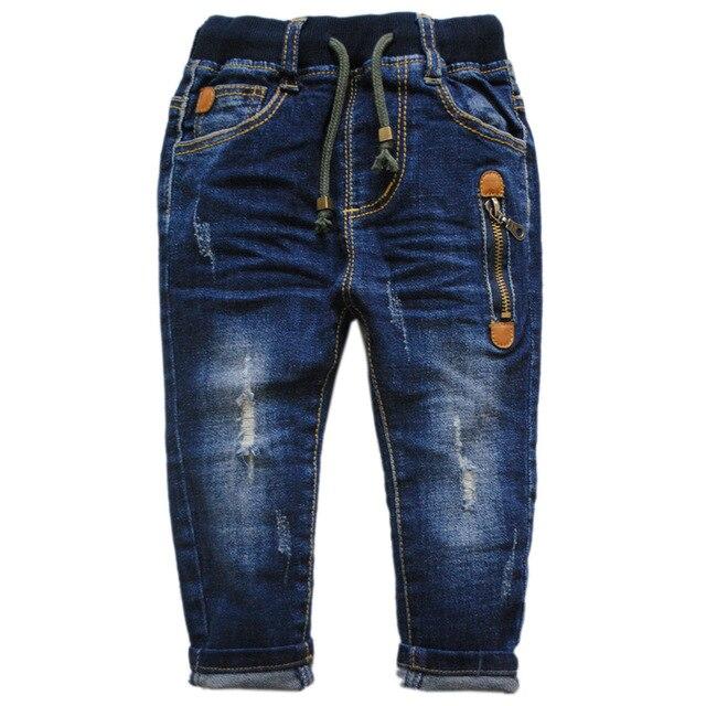 6005 ОТВЕРСТИЯ детские джинсы брюки мальчик джинсовые брюки дети джинсы детские брюки весна осень 0-4 лет моды 2017 новый