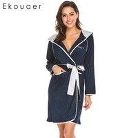 Ekouaear Phụ Nữ Giản Dị Áo Đội Mũ Trùm Đầu Dài Tay Áo Chắp Vá Pocket Áo Choàng Tắm Kimono Với Vành Đai Thời Trang Mặc Quần Áo Gow Phụ Nữ Home Quần Áo