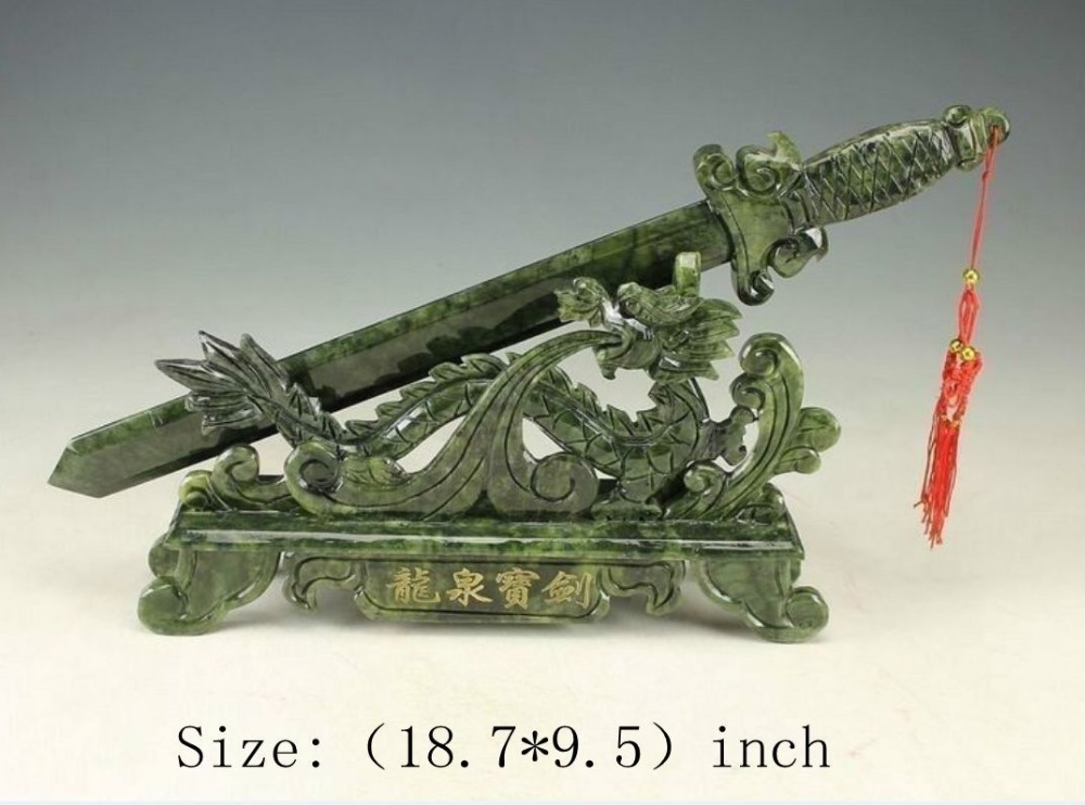 Sculpture manuelle chinoise de 18.7 pouces/élaborée de la statue du dragon et de l'épée de jade du sud de Taiwan