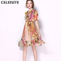 CELEISITE New 2017 Summer Printed Pure Silk Dresses Lantern Sleeve Elegant Mulberry Silk Dress C124