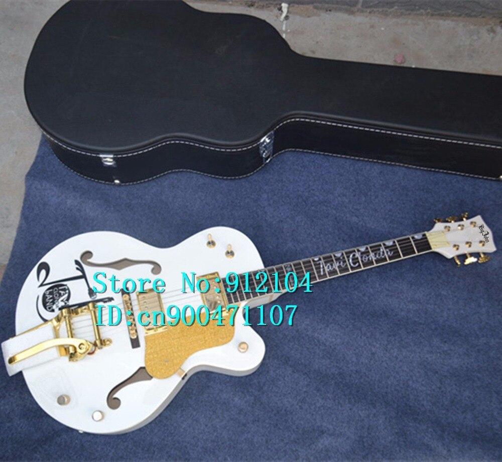 Livraison gratuite nouveau Big John F trou blanc guitare électrique made in China + valise F-1959