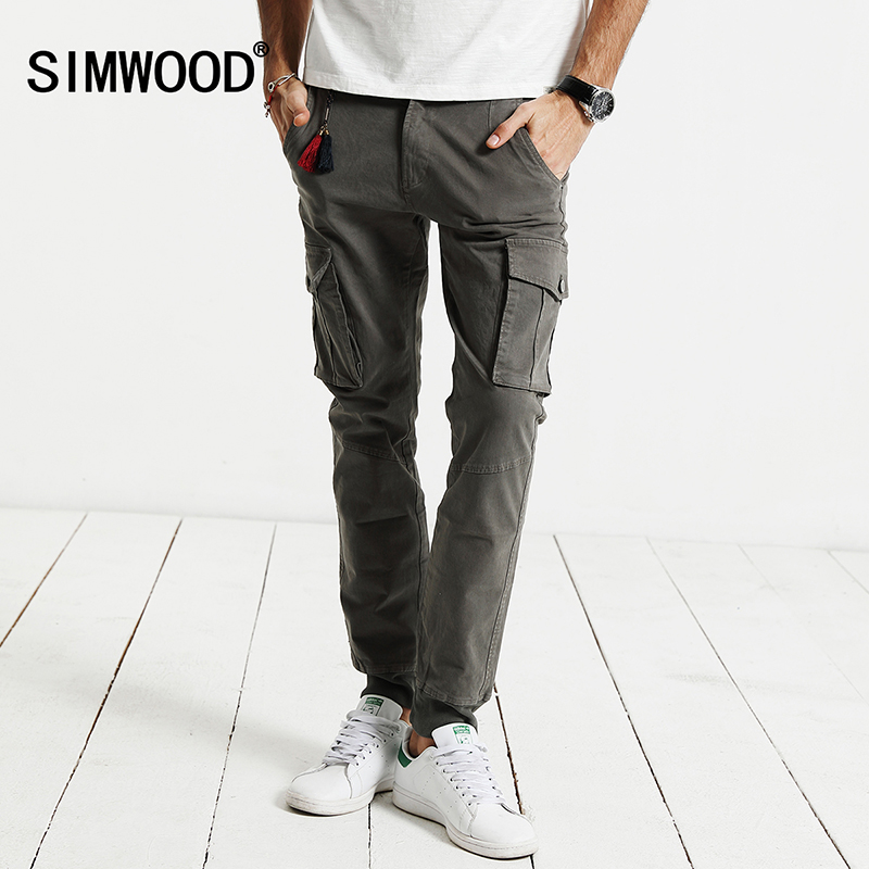 SIMWOOD New AutumnCargo Pants Men fashion army military pocket trousers cotton Slim Fit KX5531
