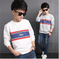 kids shirt long sleeve big boys fashion cotton new spring/autumn casual letter printing Korean style striped fall o-neck tops