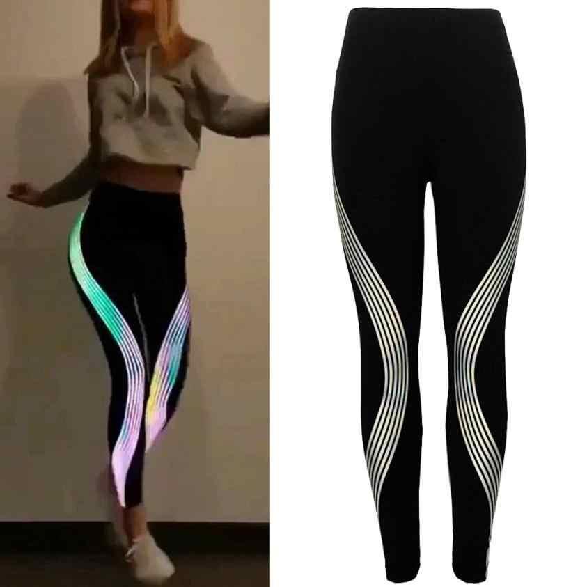 da3f0af3c3 Women Geometric Stripe Rainbow flexible track Leggings Fitness sports  trousers Sweatpants Gym Run Athletic Pants Tights