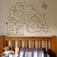 Pirate Map Vinyl Wall Decal Kids Zone Play Room Decor Art Stickers Mural Cartoon Ship Children Boys Nursery Bedroom 3001