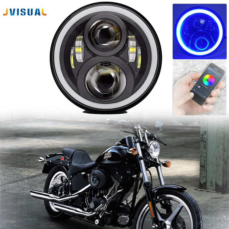 7Inch Round Led Headlight for Harley Davi honda Motorcycle with amber Left turn signal and right signal and parking light