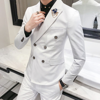 1 Piece / 2018 spring new men's suits jacket , solid color Blazers men / England style wind double breasted suit men's jackets Men Blazers