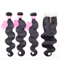 Queen hair products brazilian virgin hair with closure body wave with closure 4 bundles with closure human hair with closure