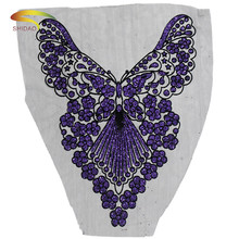 Big Butterfly Flower Embroidered Mesh Lace Neckline Collar Trim Neck Applique Clothes Dress Sewing Supplies Craft Accessories butterfly embroidered applique tee