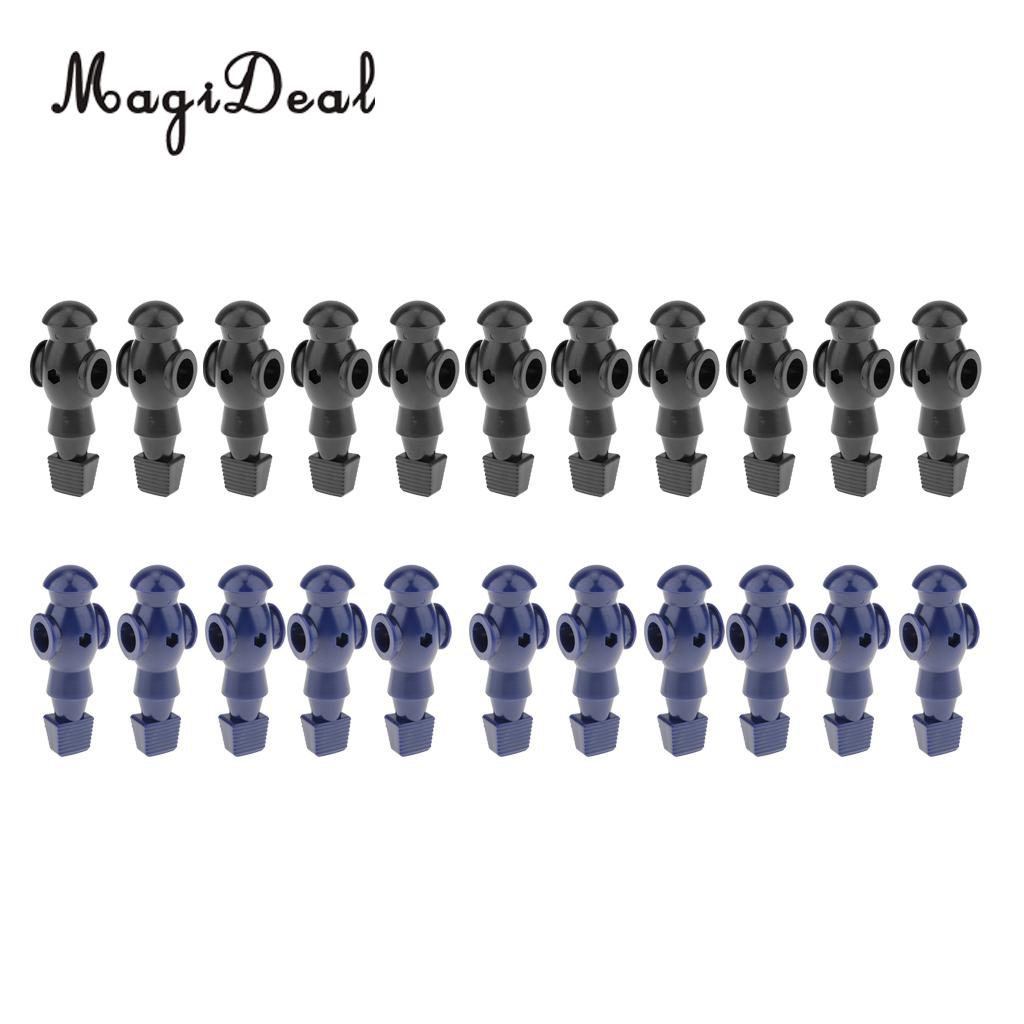 MagiDeal 22 Pieces 5/8' Foosball Man Table Soccer Player Replacement Black + Blue