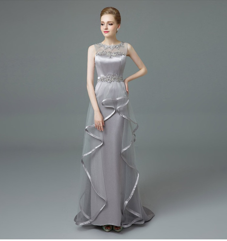 New O neck Silver Long Prom font b Dresses b font 2017 Elegant Pearls Sheer Back