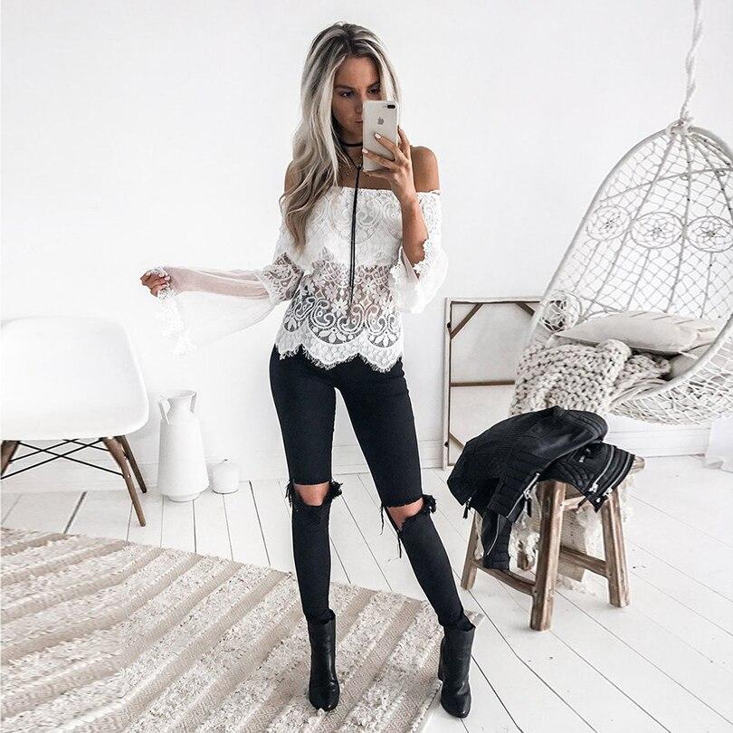 2019 Novas Mulheres de Slash Neck Tops Malha Manga Comprida Patchwork Lace Ruffles Blusa Streetwear Camisas Do Partido