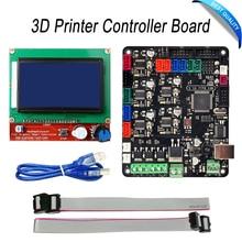 Kit de Impresora 3D MKS Base V1.5 Impresora 3D Controller Board con Mega 2560 R3 Motherboard RepRap Ramps1.4 + 12864 LCD controlador