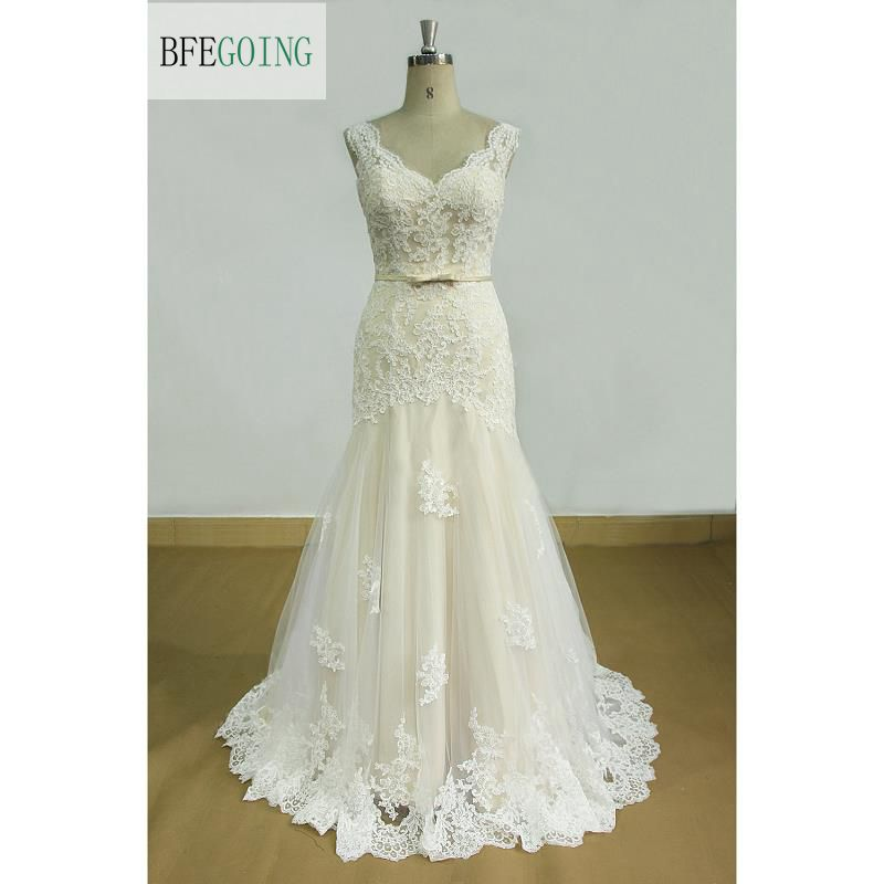 V Neck Tulle Ivory Lace Appliques Sleeveless Floor length Sheath Wedding dress Court Train Cap Sleeves