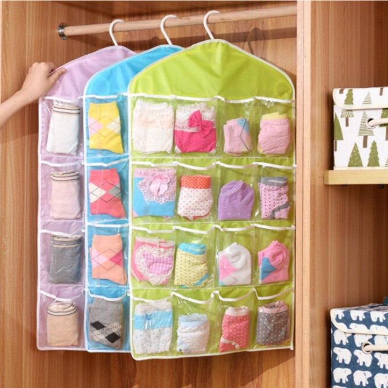 HOT! 16 Pockets Clear Hanging Bag Socks Bra Underwear Rack Hanger Storage Organizer New