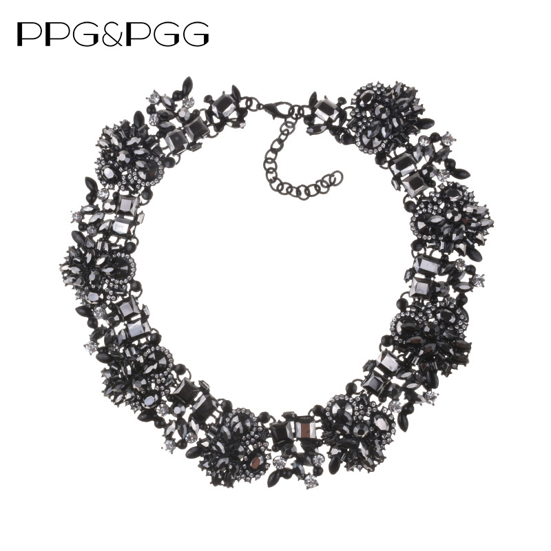 PPG&PGG Charm Fashion Jewelry Gorgeous Z Brand Black Rhinestone Collares Mixed Crystal Choker Necklaces Women Statement Neckalce gorgeous multilayer rhinestone musical notation charm bracelet for women