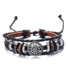 HOMOD Punk Multilayer Casual Wrap Handmade Hemp Rope Vintage Genuine Men Black Leather Bracelet For Women Female Jewelry