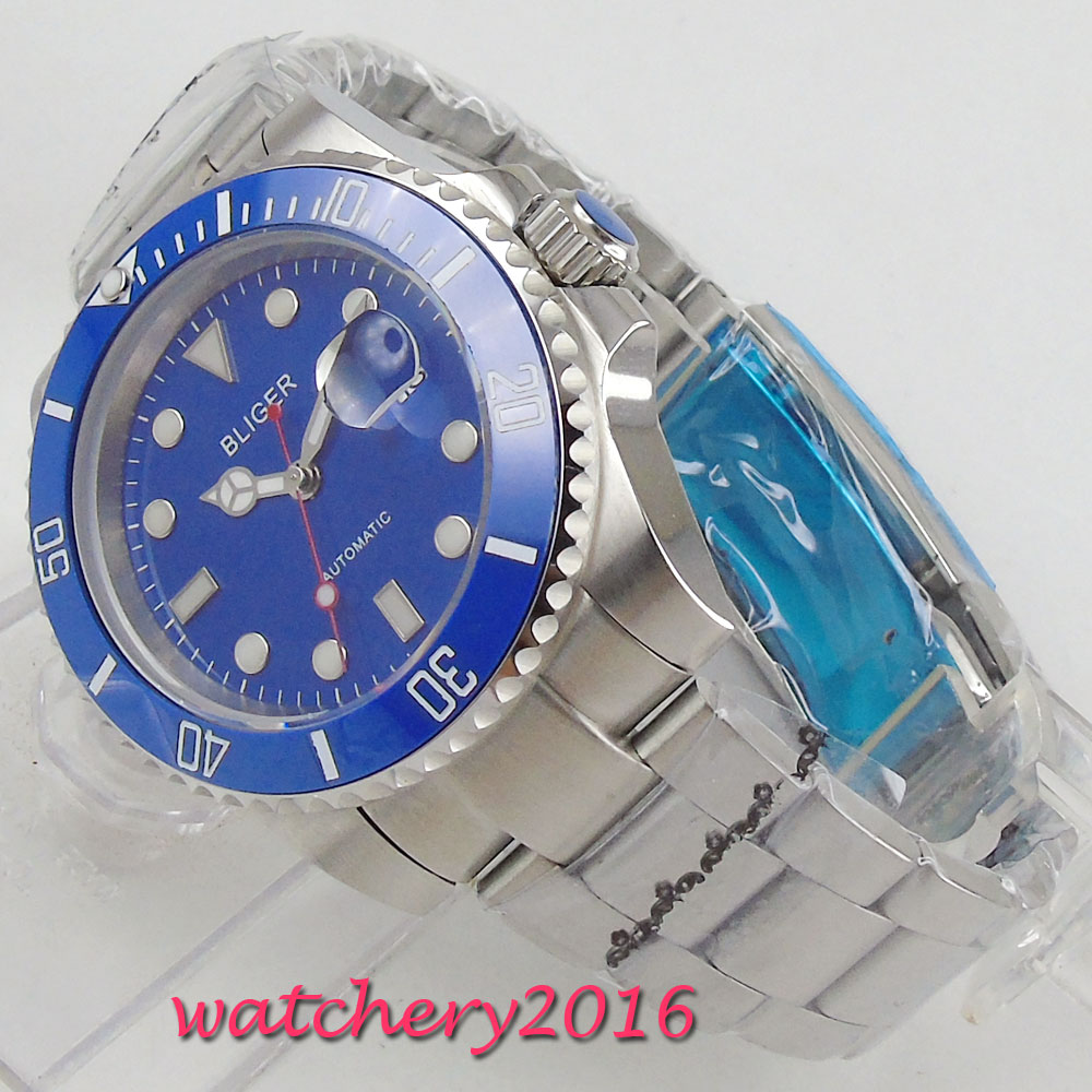 Luxury Brand Bliger mens Watch 40mm Blue Dial Sapphire Glass Rotating Bezel Luminous Steel Case Automatic Movement mens WatchLuxury Brand Bliger mens Watch 40mm Blue Dial Sapphire Glass Rotating Bezel Luminous Steel Case Automatic Movement mens Watch