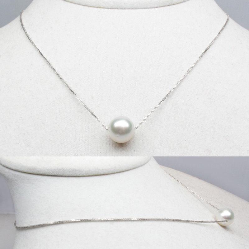 11-12mm Runde Südsee Kultivierte Weiße Perle Halskette 18 Karat Solide Weiß Gold Au750