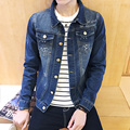 2016 new men's korean fashion casual Slim washed printing embroidery five-pointed star square collar denim jacket M-5XL