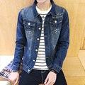 2016 nueva moda coreana de los hombres ocasionales de impresión bordado estrella de cinco puntas de cuello cuadrado Delgado washed denim chaqueta M-5XL