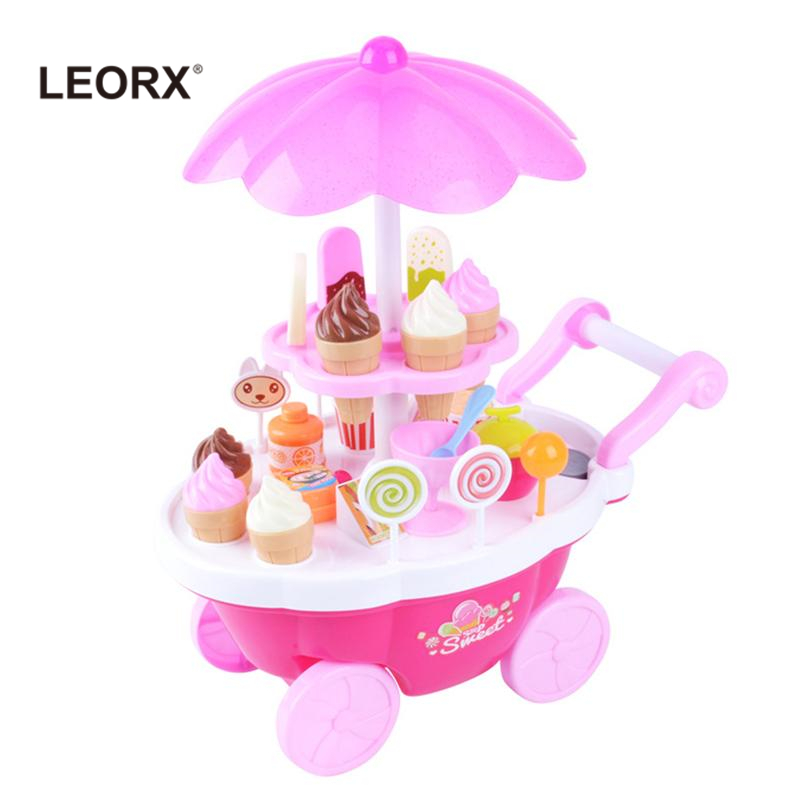 1 Set Kids Simulation Candy Ice Cream Trolley Mini Pusher Car Toy Candy Ice Cream Supermarket Music Kids Pretend Play Toy (Pink) ice cream cart toy