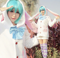 Free Shipping Anime Vocaloids V Miku Hatsune Bunny Rabbit Ear Cosplay Costume Outfit Kawaii Hoody Coat Jacket+Shorts For Female