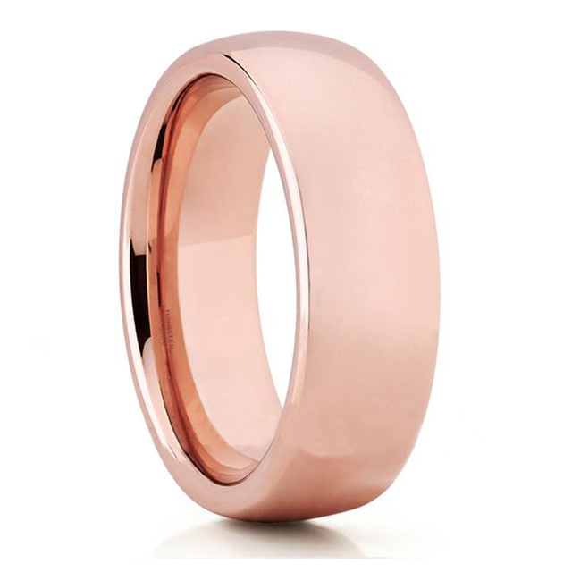 Dome Band Rose Gold Color Tungsten Ring Blank Mens Wedding Bands