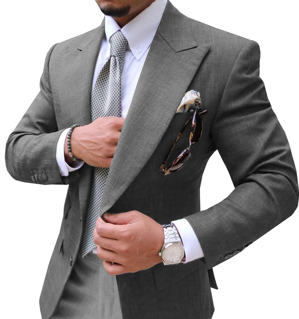 Only Jacket!!!Causal Mens Suit  Slim Fit Notched Label Grey Blazer Formal Business For Wedding Groom.Tuxedos.