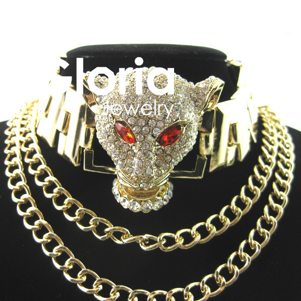 2015 Luxo Retro Cristal Leopard cabeça colar de Corrente Colar de Jóias Declaração Mulheres Colar de Jóias de Alta Qualidade Por Atacado