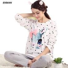 BXMAN Brand Women Pajamas Spring Cotton Character O-Neck Full Sleeve Pyjamas Women Homewear Pajama Suit 106