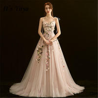 It's YiiYa New Summer Petal Dream Pink Bride Gown Sexy Spaghetti Strap Floor legnth Wedding Dress De Novia Casamento DV033