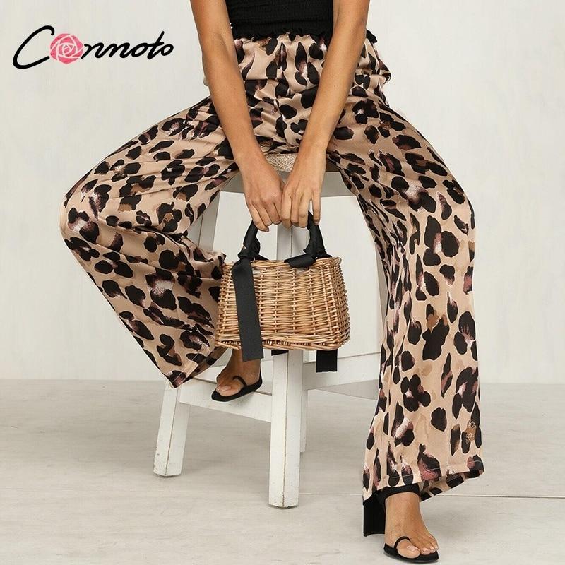 Conmoto Leopard Print Long   Pants   Women Autumn Elastic Waist   Wide     Leg     Pants   Streetwear Casual Palazzo   Pants   Pantalones Mujer