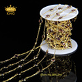 6mm 5Meter/Lot Wire Wrapped Beaded Chains Gold Plated Rosary Chain Garnet Color Glass Faceted Coin Beads Jewelry Making LS065