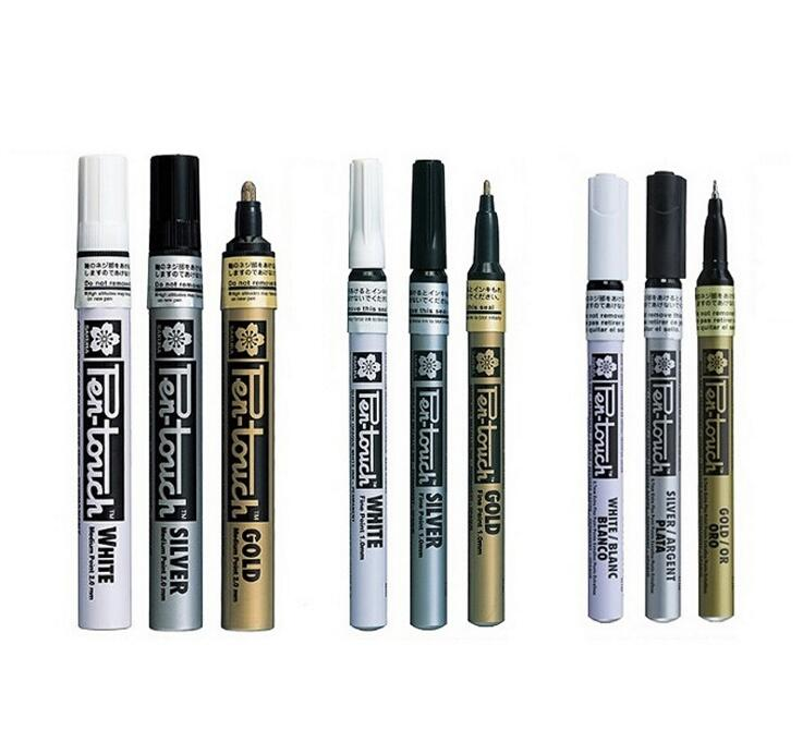 Paint Brushes Painting Supplies Zig Kuretake Oil Paint Markers Metallic Painting Pens Fmp-20 Painty Extra Fine 1.0 Mm Silver Gold Japan