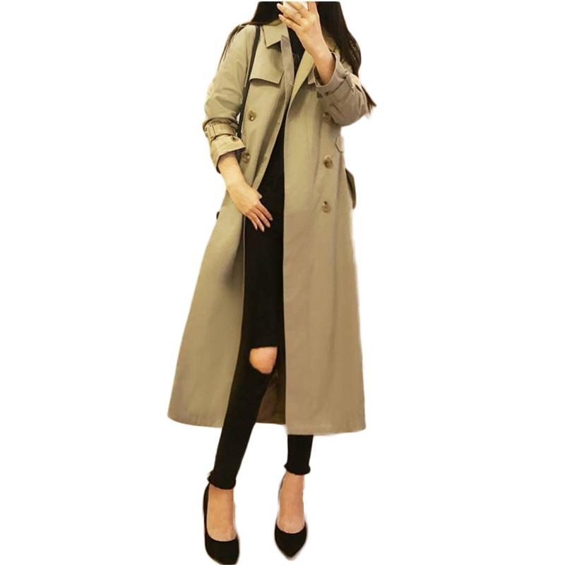 2019 New Fashion Women Khaki Slim Belt Cloak Outerwears Double Breasted Long   Trench   Coat Female Windbreaker Mujer Abrigos M72