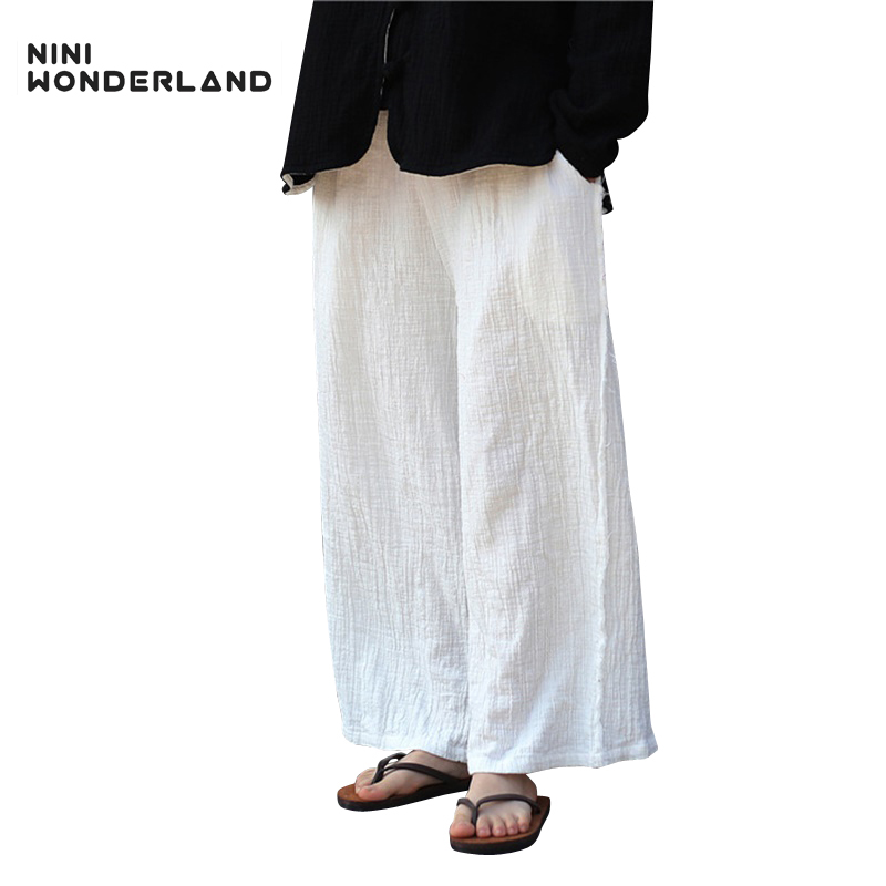 e5a33231860 2018 new cotton and linen Casual all-match wide-leg pants women spring and  summer 100% cotton embroidery calf length trousers