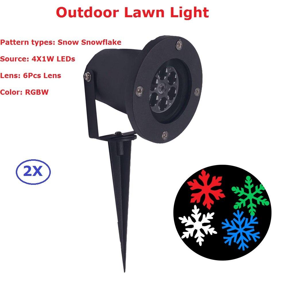 2 шт./лот наружное использование RGBW четырехцветное сценическое освещение Projectir & водонепроницаемые снежинки лужайки, IP65 водонепроницаемый,