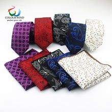 Men Polyester Necktie Set 2 PCS Narrow Neck Tie 6CM High Qua